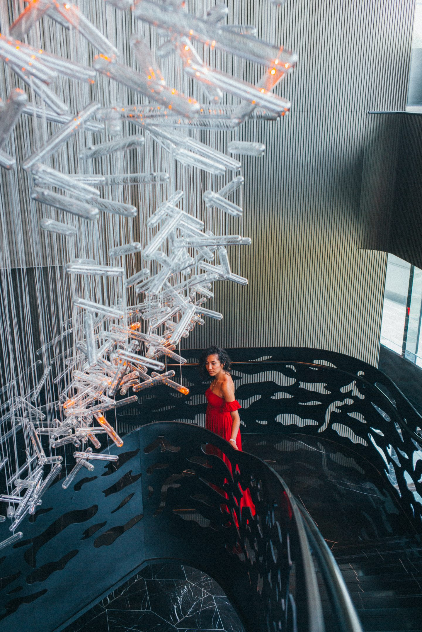 W Shanghai interior design women in red dress